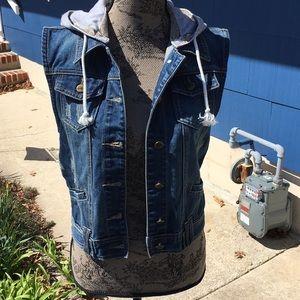 Jackets & Blazers - Hooded Denim Vest
